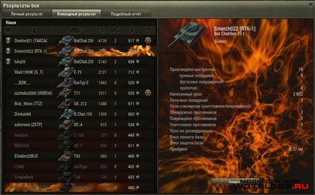 Финальная статистика в огненном стиле для World of Tanks 0.8.3