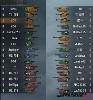 Иконки танков для WoT 0.8.6 от Wasja