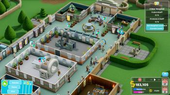 Расширенный вид в Two Point Hospital, работающий на консоли