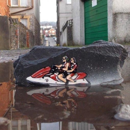 Находка: уличный художник дает новую жизнь привычным объектам спомощью граффити