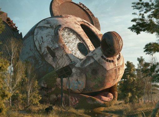Поп-апокалипсис: художник показал последствия конца света соСпанч Бобом иМикки Маусом