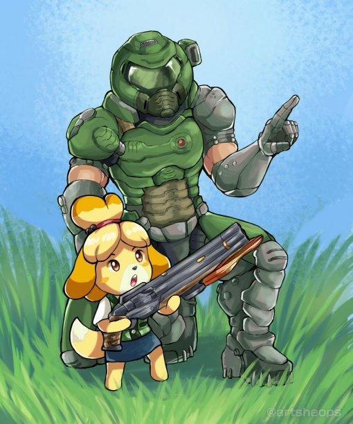 Doom и Animal Crossing: косплеерша показала образ, объединяющий Думгая и Изабель