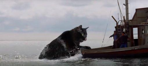 Вфильме «Челюсти» Стивена Спилберга акулу заменили накошку
